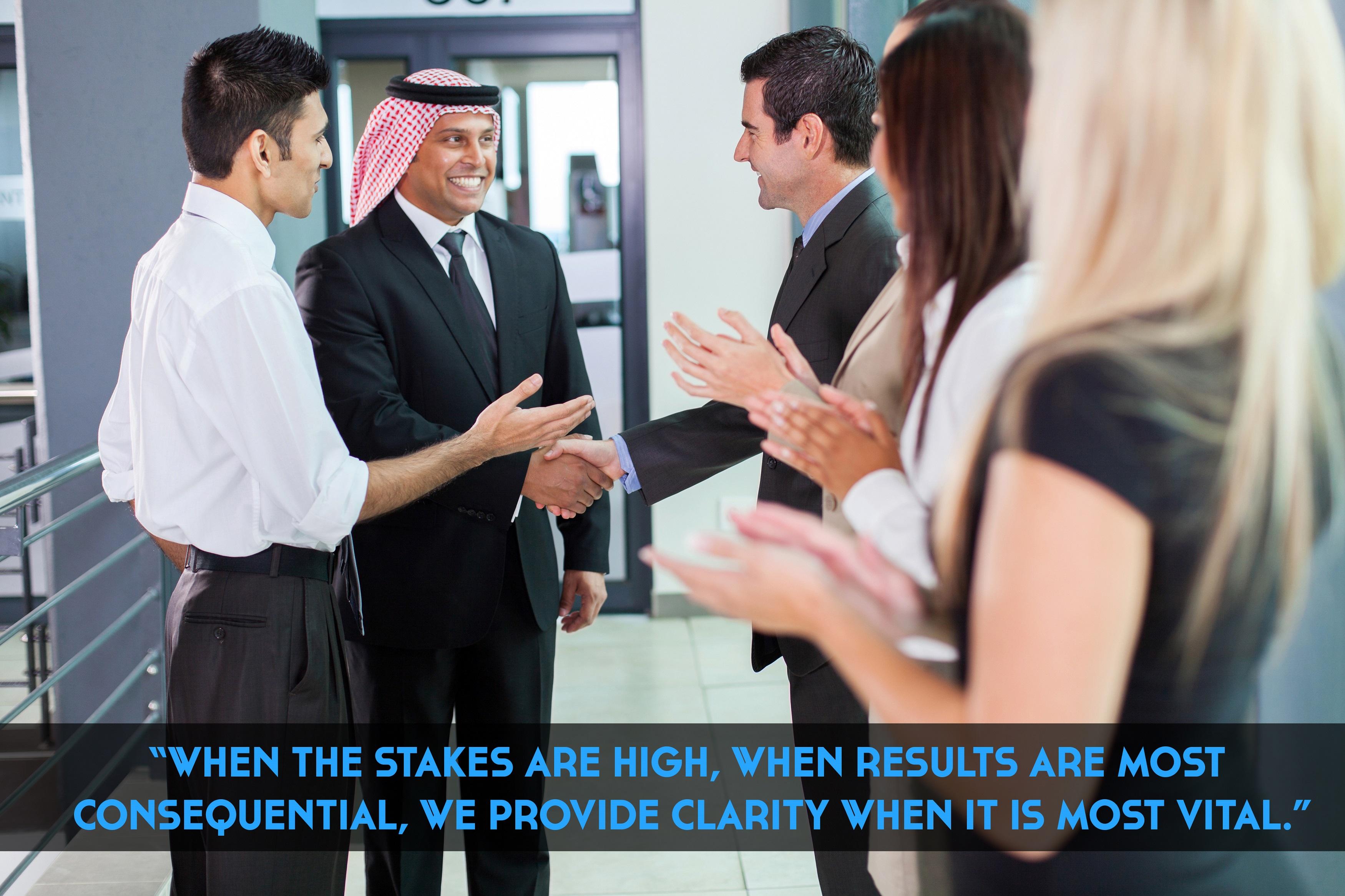 translator introducing arabian businessman to business partners
